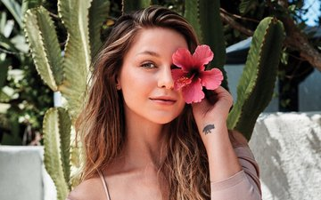 girl, portrait, look, hair, face, cacti, melissa benoist