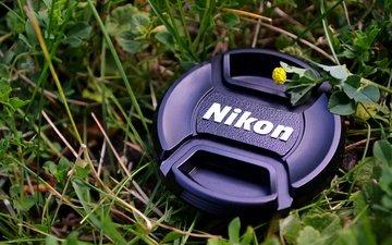 трава, макро, цветок, камера, объектив, никон, крышка