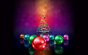 new year, tree, balls, christmas, christmas decorations