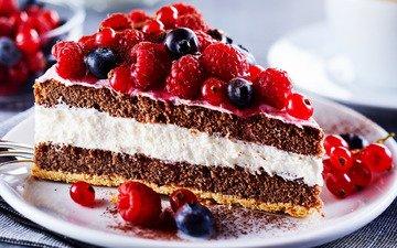 малина, ягоды, черника, торт, десерт, бисквит, кусок, крем