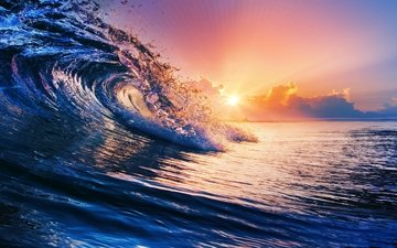 sunset, sea, wave