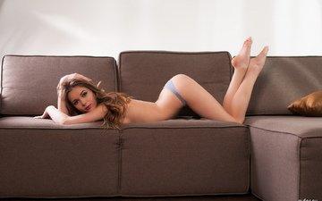 девушка, поза, взгляд, попа, диван