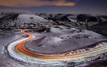 road, lights, winter