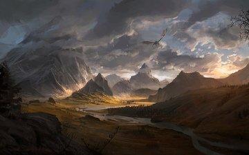 mountains, sunset, dragon, skyrim