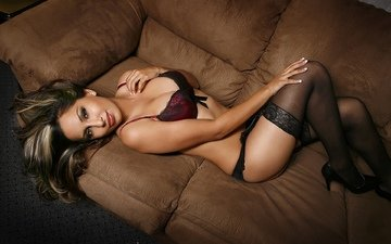 girl, brunette, look, stockings, sexy, beauty