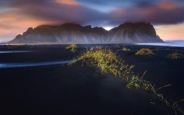 grass, water, mountains, abstraction, landscape, beautiful