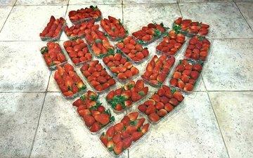 food, heart, fruit, strawberry, floor, tile, trays, the taste of summer