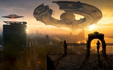 space, wallpaper, girl, ships, the city, fantasy, gate, creative, ufo