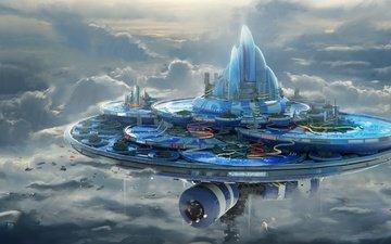 небо, облака, строительство, горки, леон tukker, влажный аква-центр