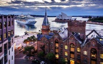 вечер, панорама, город, сидней, австралия