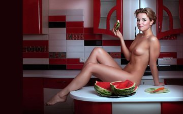 table, sitting, watermelon, nude