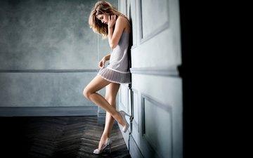 girl, mood, dress, blonde, wall, room, heels, flooring