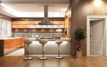 интерьер, дизайн, цветок, кухня, мебель, стулья
