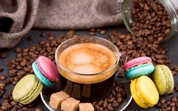 photo, grain, coffee, cup, sugar, macaroon