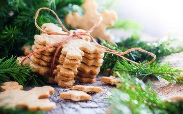 новый год, праздник, печенье, декор, ветка ели