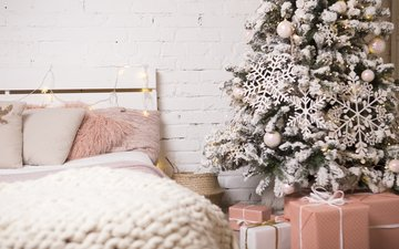 новый год, елка, интерьер, снежинки, подарки, дом, комната, праздник, новогодние украшения