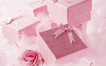 подарки, розовые, праздник, коробки, сюрприз