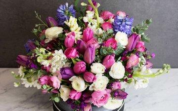 цветы, букет, тюльпаны, коробка, лютик, левкой, маттиола