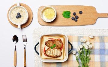 фото, хлеб, мясо, завтрак, белые розы, овсянка