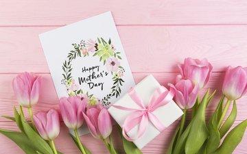 цветы, тюльпаны, розовые, подарок, день матери