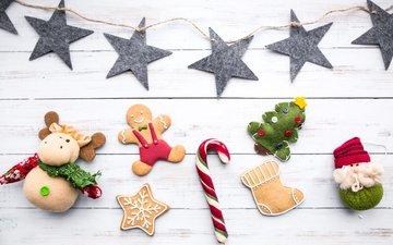 новый год, украшения, конфеты, звездочки, праздник, рождество, печенье, новогодние украшения, пряники, новогоднее печенье, имбирные пряники
