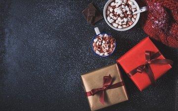новый год, подарки, праздник, рождество, чашки, зефир, горячий шоколад, маршмеллоу, valeria aksakova, зефирки