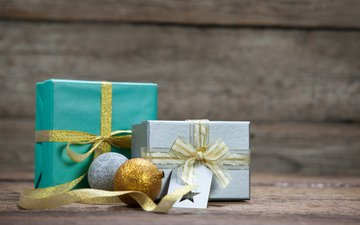 новый год, подарки, лента, рождество, коробки, новогодние украшения