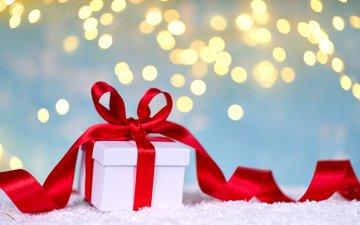 новый год, зима, лента, подарок, праздник, рождество