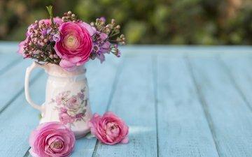 цветы, букет, ваза, сцена, цветы, с, весенние, пинк, tones