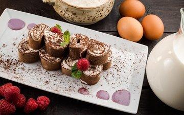 raspberry, chocolate, dessert, pancakes, tiramisu
