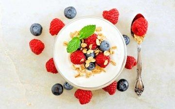 ягоды, завтрак, мюсли, йогурт