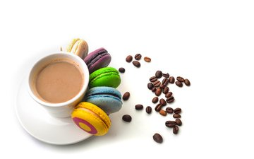 coffee, mug, macaroon, biscuits