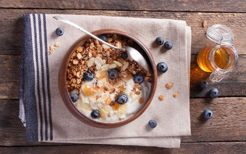 nuts, blueberries, breakfast, honey, muesli, yogurt