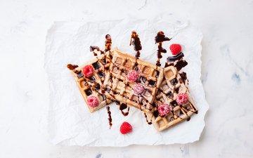 raspberry, cakes, powdered sugar, waffles, syrup