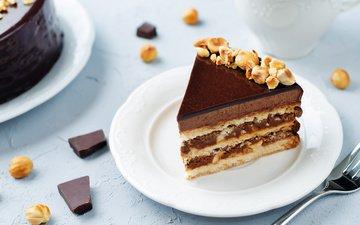 nuts, chocolate, dessert, cake, 6, cream