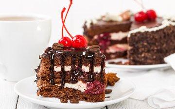 cherry, chocolate, cake, dessert, 28, piece of cake