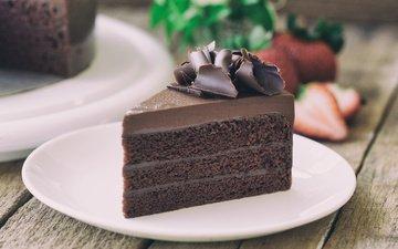 chocolate, plate, cake, 28, piece of cake