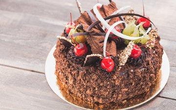 cherry, chocolate, decoration, cake, 29, cream