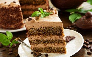 chocolate, cake, dessert, layers, cream, piece of cake