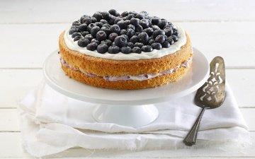 ягоды, черника, сладкое, торт, десерт, крем