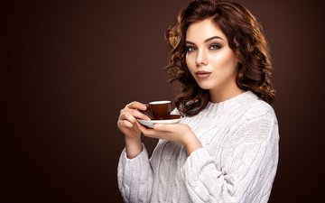 girl, look, coffee, hair, hands, cup, makeup, hairstyle, sweater