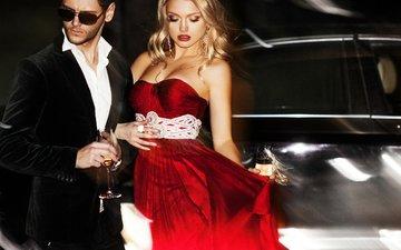 стиль, девушка, блондинка, костюм, мужчина, красное платье, солнечные очки