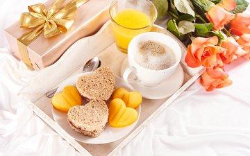 roses, coffee, bread, love, heart, gift, 1, juice