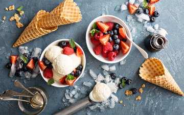 ice cream, strawberry, sweet
