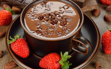 photo, strawberry, saucer, cup, hot chocolate
