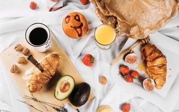 еда, фрукты, кофе, ягоды, завтрак, круассан, авокадо, сок, круассаны, инжир, апельсиновый