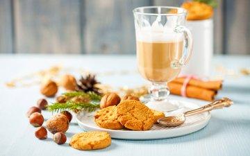 nuts, drink, cinnamon, coffee, cookies, 4