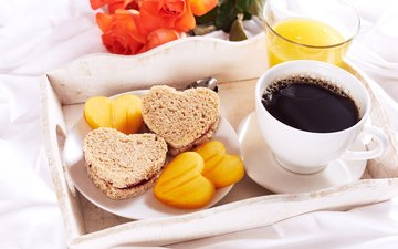 coffee, breakfast, dessert, 5, tray, orange juice, juice, toast