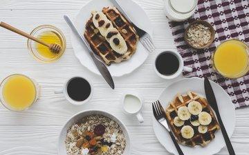 coffee, breakfast, honey, cream, banana, muesli, juice, waffles, yogurt, dried fruits