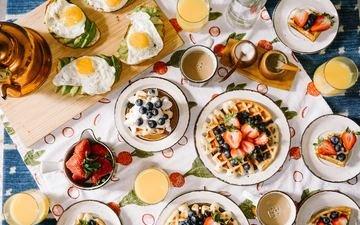 ягоды, завтрак, натюрморт, яйцо, вафли
